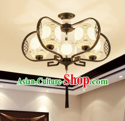 Traditional Chinese Hanging Ceiling Lanterns Ancient Handmade Five-Lights Lantern Ancient Lamp