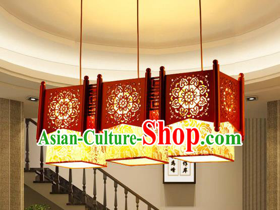 Traditional Chinese Wood Carving Three-Lights Hanging Lanterns Handmade Palace Ceiling Lantern Ancient Lamp