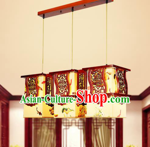 Traditional Chinese Wood Carving Hanging Lanterns Handmade Painting Three-Lights Palace Ceiling Lantern Ancient Lamp