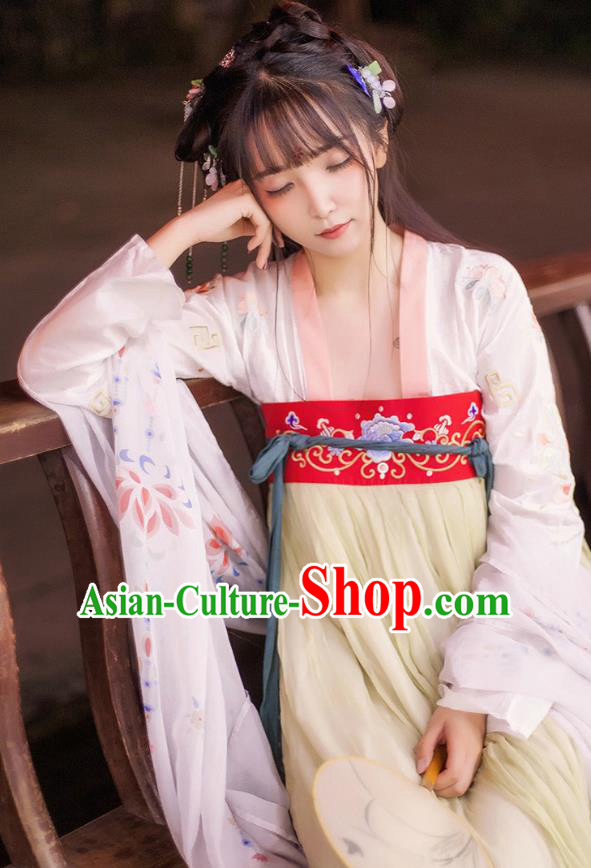 China Ancient Palace Lady Costume Tang Dynasty Princess Embroidered Dress for Women