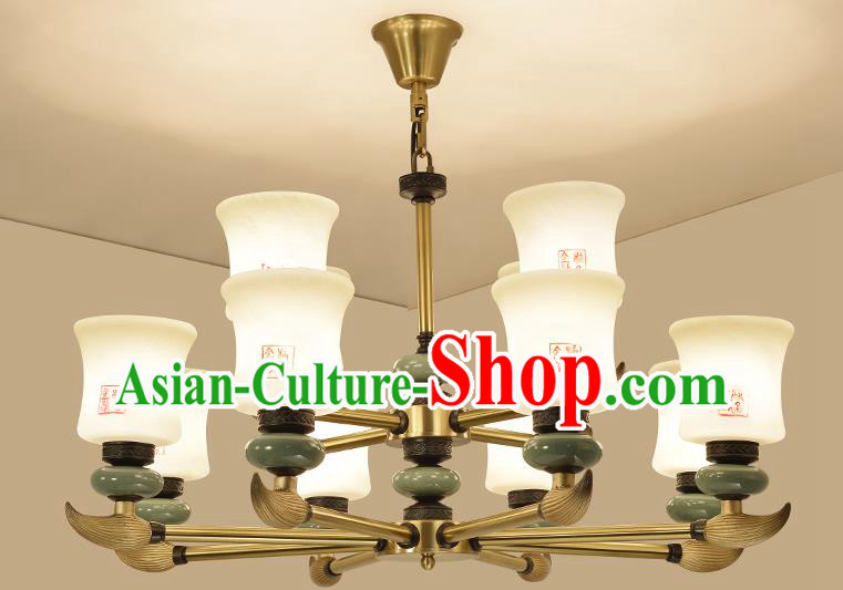 Traditional Handmade Chinese Porcelain Palace Lanterns Ancient Twelve-Lights Ceiling Lantern Ancient Lamp