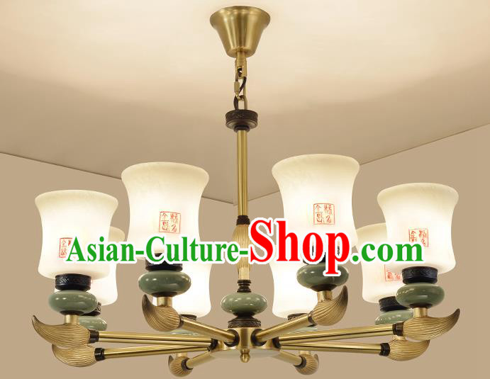 Traditional Handmade Chinese Porcelain Palace Lanterns Ancient Eight-Lights Ceiling Lantern Ancient Lamp