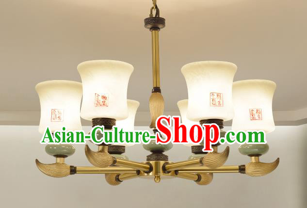 Traditional Handmade Chinese Porcelain Palace Lanterns Ancient Six-Lights Ceiling Lantern Ancient Lamp
