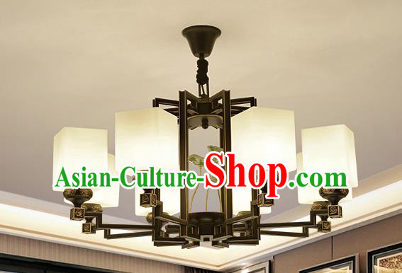 Traditional Handmade Chinese Iron Palace Lanterns Ancient Eight-Lights Porcelain Ceiling Lantern Ancient Lamp