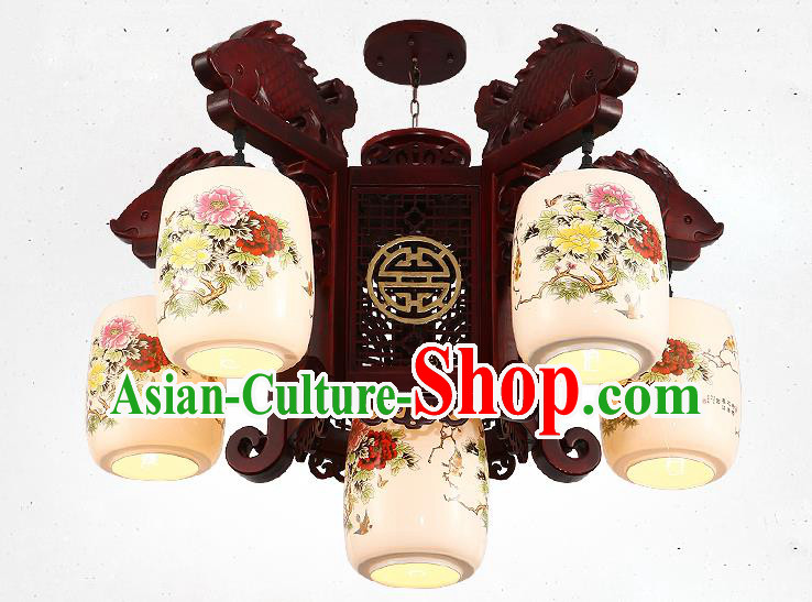 Traditional Chinese Handmade Ceramics Lantern Asian Five Dragons Head Ceiling Lanterns Ancient Lantern