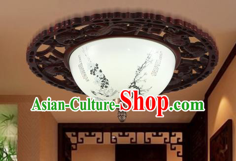 Traditional Chinese Handmade Ceramics Lantern Asian Wood Painting Plum Blossom Ceiling Lanterns Ancient Lantern