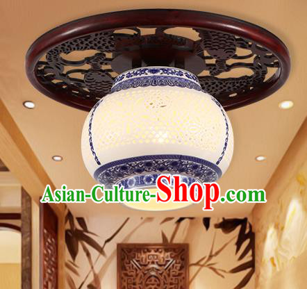 Traditional Chinese Handmade Ceramics Lantern Asian Wood Ceiling Lanterns Ancient Lantern