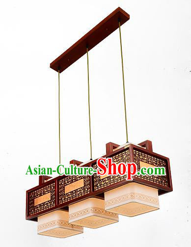 Traditional Chinese Handmade Three-Lights Lantern Wood Carving Hanging Lantern Ancient Palace Ceiling Lanterns