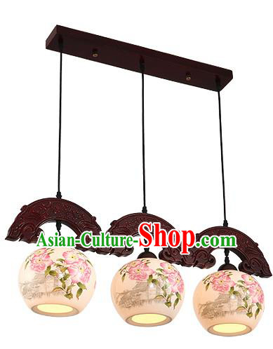 Traditional Chinese Handmade Three-Lights Hanging Lantern Wood Painting Peony Lantern Ancient Palace Ceiling Lanterns