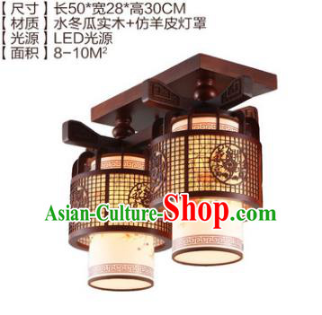 Traditional Chinese Handmade Two-Lights Lantern Wood Carving Lantern Ancient Palace Ceiling Lanterns