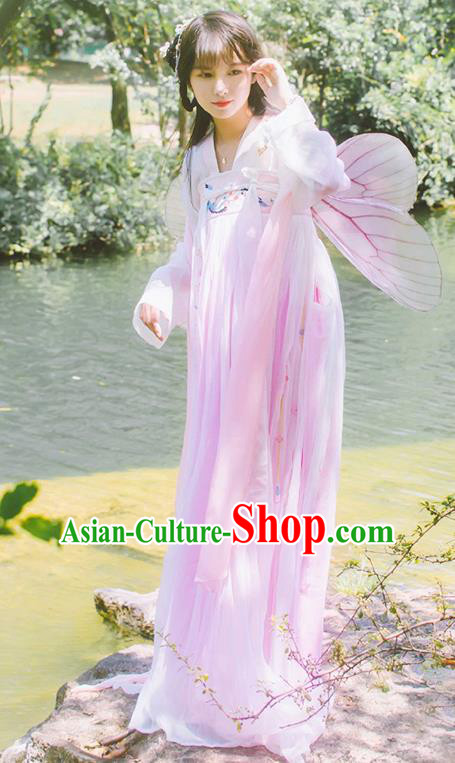Chinese Tang Dynasty Palace Lady Embroidered Dress Ancient Princess Costume for Women
