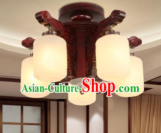 Traditional Chinese Handmade Five-Lights Ceiling Lantern Rosewood Marble Palace Lanterns Ancient Lamp