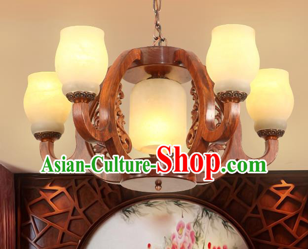 Traditional Chinese Handmade Rosewood Marble Ceiling Lantern Five-Lights Palace Lanterns Ancient Lamp