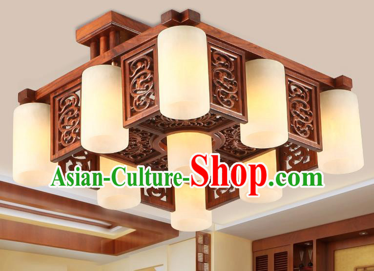 Traditional Chinese Handmade Marble Ceiling Lantern Wood Carving Nine-Lights Palace Lanterns Ancient Lamp
