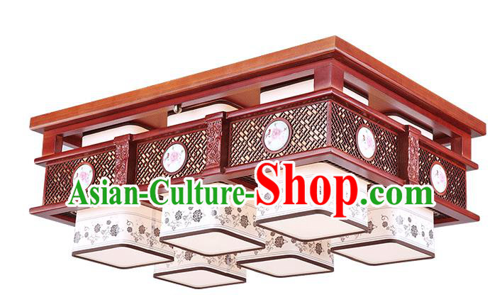 Traditional Chinese Hanging Palace Lantern Handmade Painting Peony Ceiling Lanterns Ancient Six-Lights Lamp