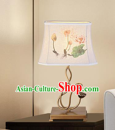 Traditional Chinese Palace Lantern Handmade Painting Lotus Desk Lanterns Ancient Lamp