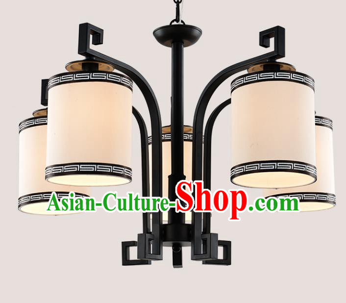 Top Grade Handmade Five-Lights Iron Lanterns Traditional Chinese Ceiling Palace Lantern Ancient Lanterns