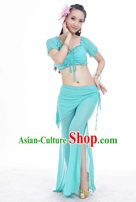 Indian Traditional Belly Dance Green Costume India Oriental Dance Clothing for Women