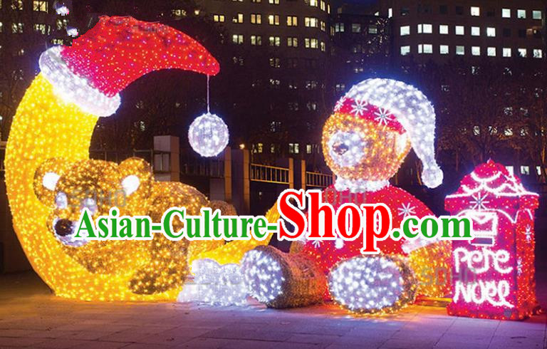 Traditional Christmas Moon Bear LED Lights Show Lamps Decorations Stage Lamplight Display Lanterns