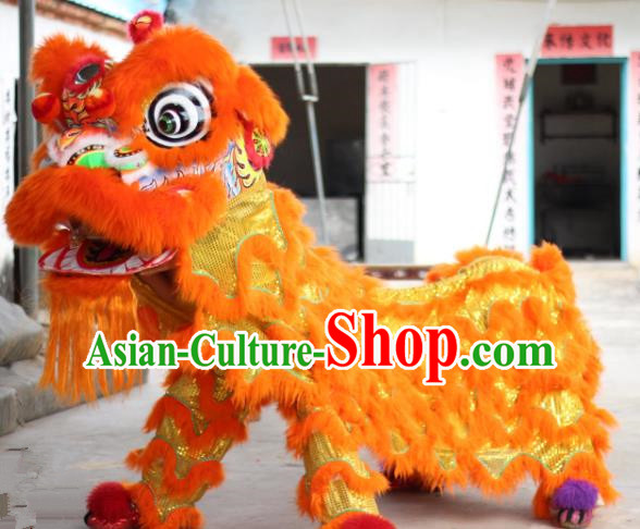 Chinese Traditional Parade Orange Lion Head Professional Wool Lion Dance Costumes Complete Set