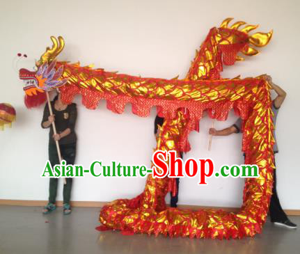 Chinese Professional Red Dragon Dance Costumes Lantern Festival Celebration Dragon Parade Props Complete Set