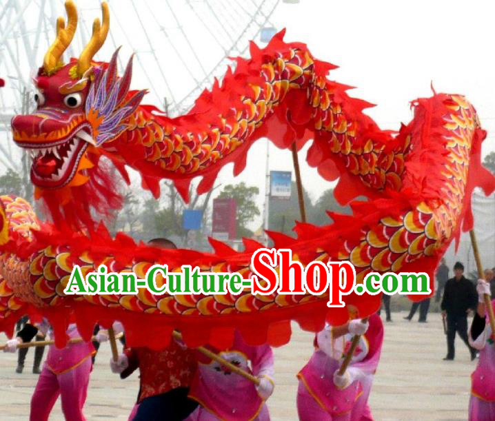 Chinese Traditional Red Dragon Dance Costumes Professional Lantern Festival Celebration Dragon Parade Complete Set
