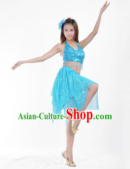 Traditional Indian Belly Dance Blue Sequin Clothing India Oriental Dance Costume for Women