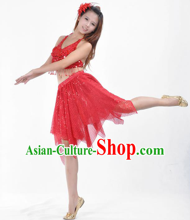 Traditional Indian Belly Dance Red Sequin Clothing India Oriental Dance Costume for Women