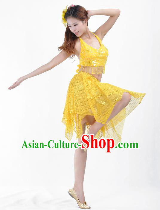 Traditional Indian Belly Dance Yellow Sequin Clothing India Oriental Dance Costume for Women
