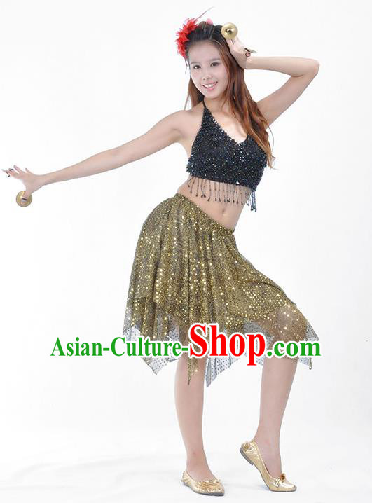 Traditional Indian Belly Dance Sequin Clothing India Oriental Dance Costume for Women