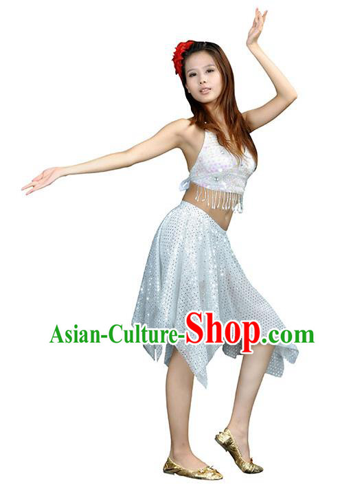 Traditional Indian Belly Dance White Sequin Clothing India Oriental Dance Costume for Women