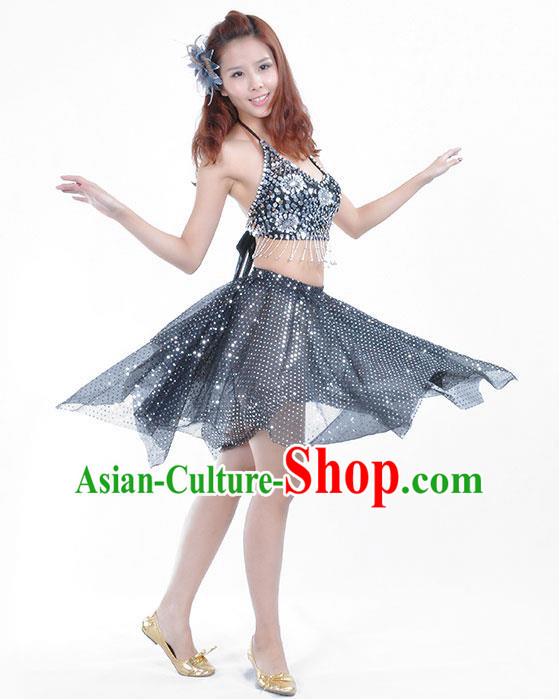 Traditional Indian Belly Dance Argentate Sequin Clothing India Oriental Dance Costume for Women