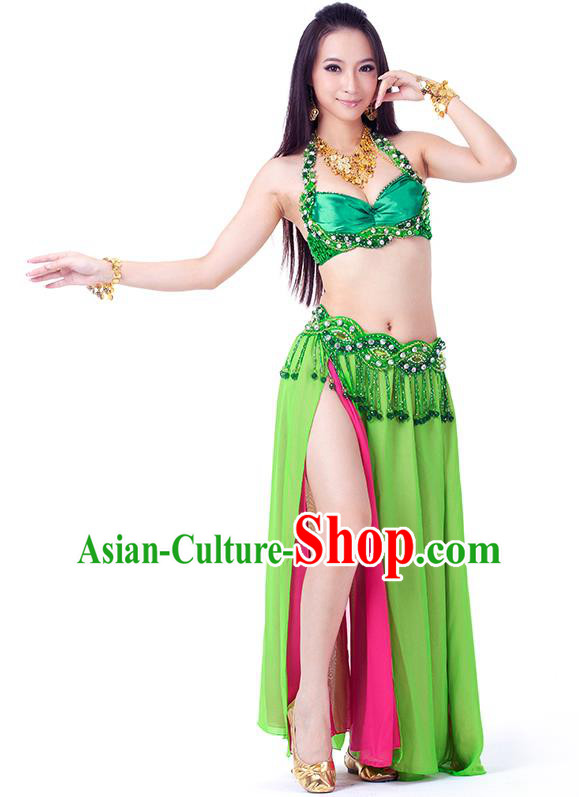 Traditional Indian Belly Dance Green and Rosy Dress India Oriental Dance Clothing for Women