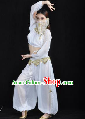Traditional Bollywood Dance Performance White Clothing Indian Dance Belly Dance Costume for Women