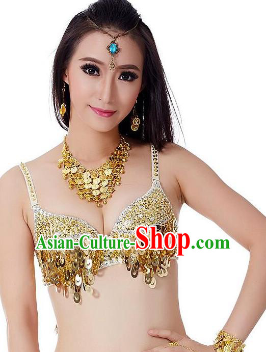 Indian Bollywood Belly Dance Golden Sequin Brassiere Asian India Oriental Dance Costume for Women