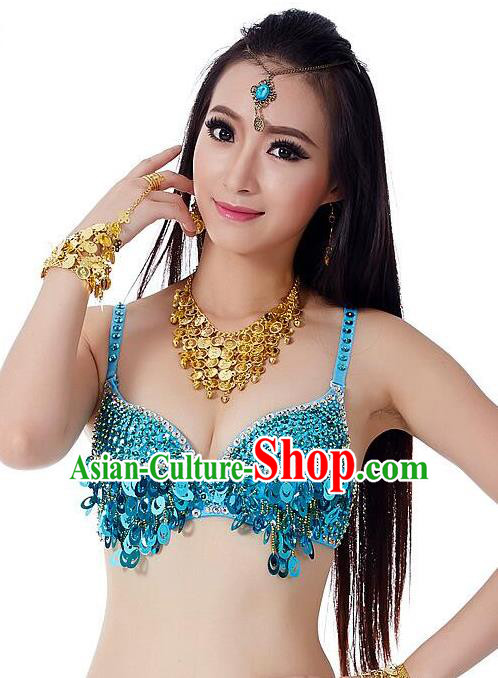 Indian Bollywood Belly Dance Blue Sequin Brassiere Asian India Oriental Dance Costume for Women
