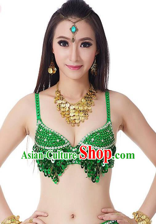 Indian Bollywood Belly Dance Green Sequin Brassiere Asian India Oriental Dance Costume for Women