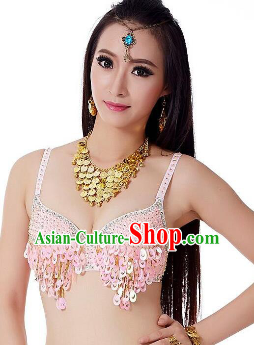 Indian Bollywood Belly Dance Pink Sequin Brassiere Asian India Oriental Dance Costume for Women