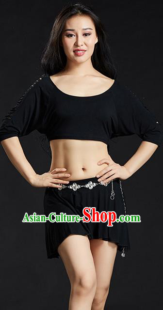 Traditional Oriental Yoga Dance Black Costume Indian Belly Dance Clothing for Women