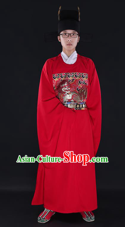 Chinese Ancient Wedding Costume Chancellor Kylin Red Robe Ming Dynasty Minister Clothing for Men