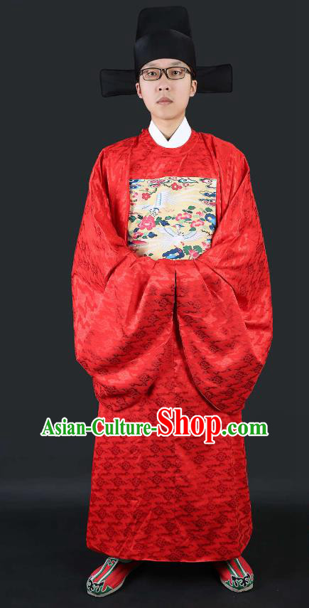 Chinese Ancient Lang Scholar Wedding Costume Cranes Red Robe Ming Dynasty Minister Clothing for Men