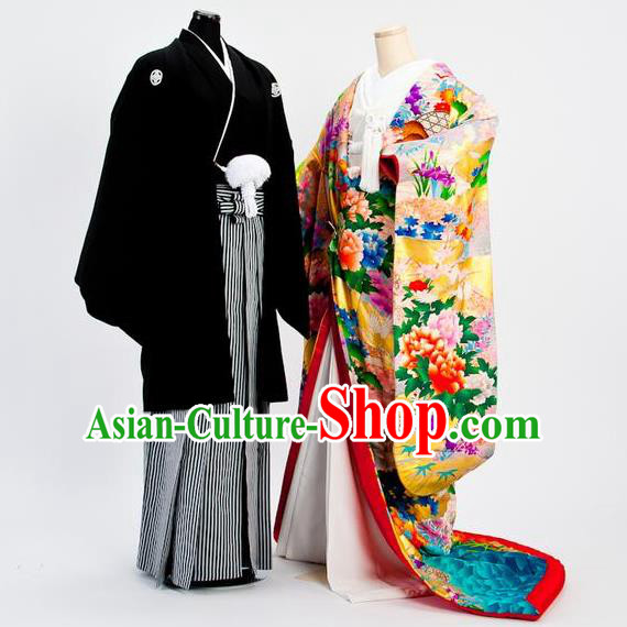 Traditional Japanese Wedding Pink Costumes Bride and Bridegroom Kimono Clothing for Women for Men
