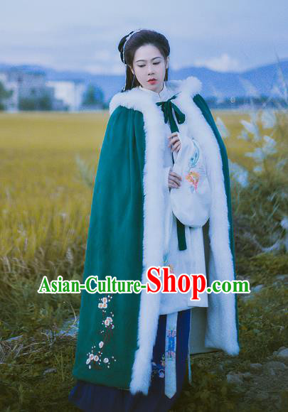 Chinese Ancient Ming Dynasty Princess Embroidered Plum Blossom Mantle Costume Green Long Cloak for Women