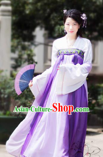 Chinese Tang Dynasty Princess Purple Dress Ancient Palace Lady Embroidered Costume for Women