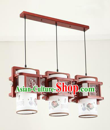 China Traditional Handmade Ancient Orchid Hanging Three-pieces Lantern Palace Lanterns Ceiling Lamp