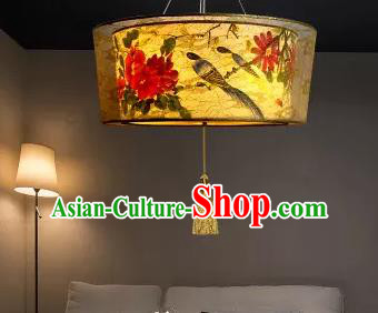 Traditional China Handmade Lantern Ancient Printing Peony Parchment Hanging Lanterns Palace Ceiling Lamp
