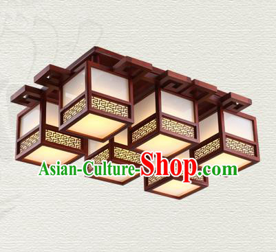 China Traditional Handmade Ancient Wood Lantern Six-pieces Palace Lanterns Ceiling Lamp