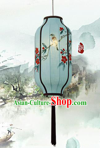 Traditional China Handmade Blue Lantern Ancient Ink Painting Flowers Hanging Lanterns Palace Ceiling Lamp