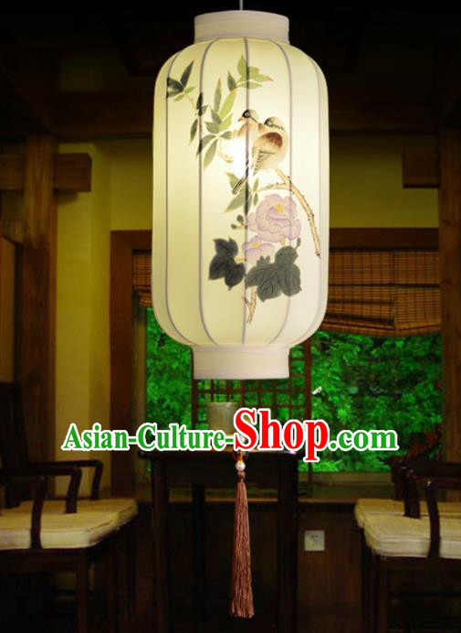 Traditional China Handmade Lantern Ancient Ink Painting Birds Hanging Lanterns Palace Ceiling Lamp