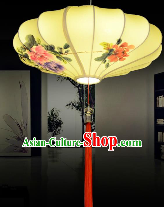 Traditional China Handmade Yellow Lantern Ancient Ink Painting Peony Hanging Lanterns Palace Ceiling Lamp